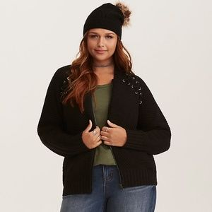 Torrid Lace Up Sweater Knit Bomber Jacket